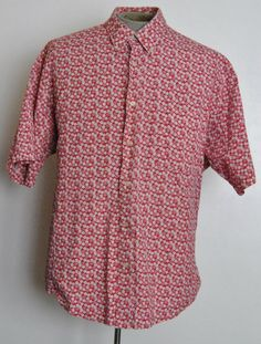 Natural Issue Shirt 2XL Mens Red Floral Button-Down Cotton Short Sleeve #NaturalIssue #ButtonFront free shipping Buy Now  $14.99