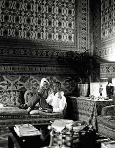 The Count and Countess Brandolini D'Adda relaxing in their Venetian palazzo decorated by Renzo Mongiardino in 1966. Photo by Cecil Beaton for Vogue.