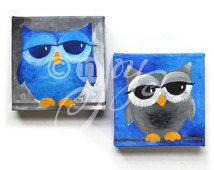 Blue Owl Art, 2 BLUE and GRAY OWLS, Set of 2 6x6x1.5 Acrylic Owl Paintings.  Art for office. Art for kids