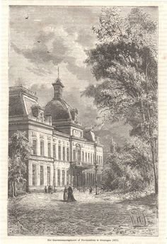 antique print Government Building Groningen Netherlands / provinciehuis 1882