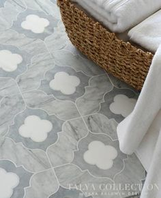 Irene stone waterjet mosaic in Allure honed, Snow White polished and Avenza honed | Talya Collection | Sara Baldwin of New Ravenna | Marble Systems