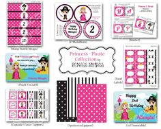 PRINCESS and PIRATE Birthday Party - Pink & Black collection - CUSTOMIZED - Printable Coordinating Design Accessories. $29.00, via Etsy.