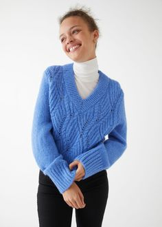 Cable Knit Wool Sweater - Blue - Sweaters - & Other Stories GB
