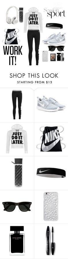 """Gym"" by manarnassan on Polyvore featuring NIKE, WearAll, Orla Kiely, Beats by Dr. Dre, Ray-Ban, Felony Case, Narciso Rodriguez, Lancôme and Sonia Kashuk"