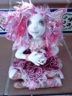 ooak fairy fae art doll  soft cloth handmade by jansfabfairies