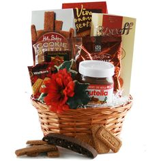 Nutella Lover Gift Basket Dyi Gift Baskets, Holiday Gift Baskets, Birthday Gift Baskets, Holiday Gifts, Nutella, Biscoff Cookies, Gift From Heaven, Homemade Christmas Gifts, Easter Crafts For Kids