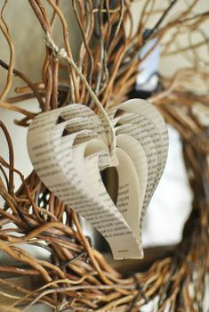 How to Make Paper Hearts From Old Book Pages - Fabulessly Frugal - Basteln - Easy to Make DIY Valentine Need an idea for some inexpensive Valentines decor? Old Book Pages, Old Books, Valentines Day Decorations, Valentine Day Crafts, Easy Adult Craft, Adult Crafts, How To Make Paper, Crafts To Make, Paper Hearts