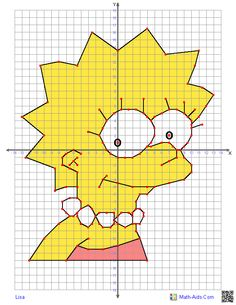 Coordinate grid picture worksheets graphing four quadrant characters school education learning teachers homework etc free printable graphi Math Lesson Plans, Math Lessons, Graphing Worksheets, Math Projects, Math Art, Math Classroom, Teaching Math, Free Printable, Lisa Lisa