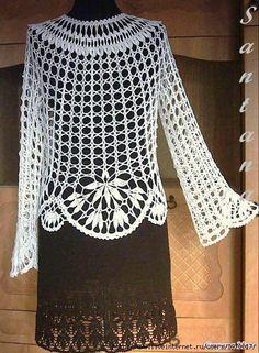 White cloak of viscose T-shirt Au Crochet, Cardigan Au Crochet, Pull Crochet, Gilet Crochet, Crochet Jacket, Crochet Woman, Crochet Cardigan, Irish Crochet, Crochet Stitches