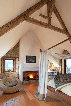 30 Attic Room Design And Remodel Ideas 9 - homegrowmart Home Bedroom, Master Bedroom, Bedroom Decor, Entryway Decor, Attic Rooms, Attic Spaces, Bedroom Fireplace, Beautiful Bedrooms, Cabana