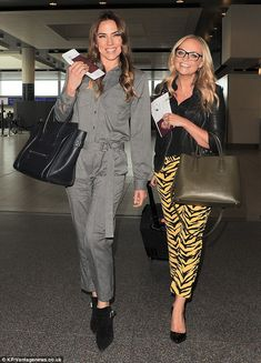 Spice up the party! Mel C and Emma Bunton arrived at London Gatwick on Saturday to jet to Marrakech for David Beckham's 40th birthday celebrations