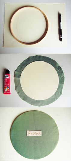 DIY Tutorial : Framed Embroidery Hoops - backing the hoop frame with ...
