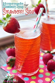Homemade Strawberry Syrup for Strawberry Soda ~ easy, 3-ingredient syrup can also be used in cocktails or drizzled over ice cream, pound cake, waffles, and more! | FiveHeartHome.com