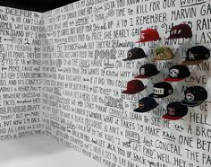 Timothy Goodman: FlexFit Tupac Mural Black background w product 'sticking out'. Environmental Graphics, Environmental Design, Timothy Goodman, Hand Drawn Type, Communication Art, Types Of Lettering, 2pac, Tupac Shakur, Commercial Design