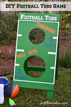 DIY football toss game tutorial. Great fun for a party or family holiday game. Make a bean bag toss, water balloon game, Fl Gators football toss or more. Get creative and have fun! H2OBungalow .  #outdoorgames #footballtoss #touchdown #fieldgoal #beanbagtoss #buildit