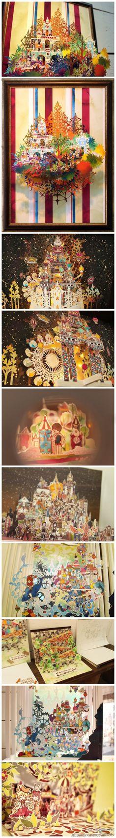 【插画】梦幻童话de3D插画立体折纸。