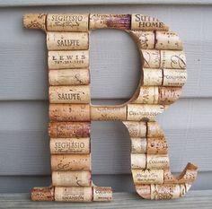 Homemade cork Monogram sign.