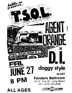 Jun 27, 1986. Fender's Ballroom, Long Beach. T.S.O.L., Agents Orange, D.I., Doggy Style, Blast.