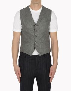 """The wool flannel """"Fitzgerald"""" waistcoat by Brunello Cucinelli get's it right. 100% Wool with a perfect 4 button cinch in back."""