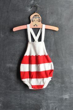 Vintage Red Striped Baby Romper.