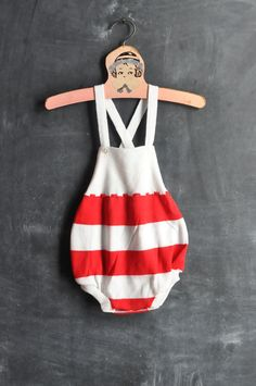 Vintage Red Striped Baby Romper.