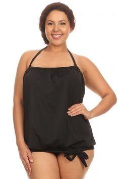 932d1204bb500 ENLA Swimwear Womens Two Piece Solid Black Blouson Tie Tankini Plus Sizes  NWT  ENLA