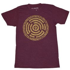Inspired by the Ancient Mayan Labyrinth's that connect life to the afterlife, this tee is printed on a Unisex American Apparel Tri-blend Cranberry tee 50% Polyester, 25% Cotton, 25% Rayon and printed with super soft to the touch gold ink.