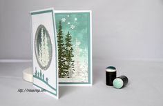 cardmaking video tutorial: Une carte à fenêtre ... enjoyed watching the creation of this gorgeous winter card with acetate porthole, but don't understand French ... Stampin' Up!