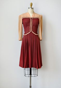 Vintage 1930's ruched dress with braid detail.