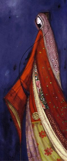 Catherine Rebeyre : Kaftan Magic Women, Watercolour Paintings, Divine Feminine, Fashion Illustrations, Kaftan, Artsy, Portraits, Silhouette, Inspiration