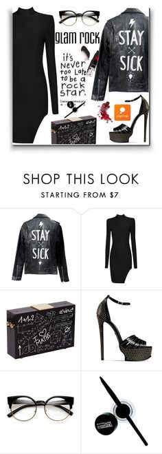 """""""glam rock look"""" by wannanna ❤ liked on Polyvore featuring Roberto Cavalli, Garance Doré and Maybelline"""