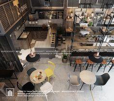 Nếu không có khả năng thuê một mặt bằng với diện tích, bạn có thể tham khảo mẫu thiết kế quán cafe nhỏ đẹp mà Moredesign thực hiện dưới đây.