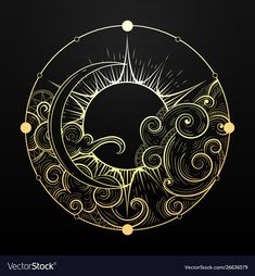 sun and moon tattoo Hand drawn golden sun and moon with cloud Vector Image Sun And Moon Drawings, Sun Drawing, Moon Phases Drawing, Tattoo Drawings, Art Drawings, Geometric Tatto, Tattoo Mond, Art Watercolor, Cloud Vector