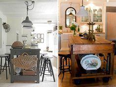 Остров на кухне - стиль кантри, прованс, шебби шик, рустикальный