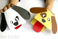 Easy peasy and oh so fun Paper Dog Hand Puppet. Love how quick and easy these paper hand puppets are to make!!! Great Dog Craft for Kids. Easy and quick.