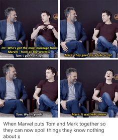 Funny Marvel Memes, Avengers Memes, Marvel Jokes, Avengers Cast, Marvel Avengers, Marvel Actors, Marvel Dc Comics, Mark Ruffalo, Dc Movies