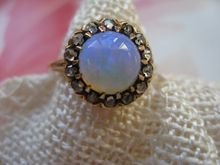 Antique 10K Opal & Rose Cut Diamond Ring