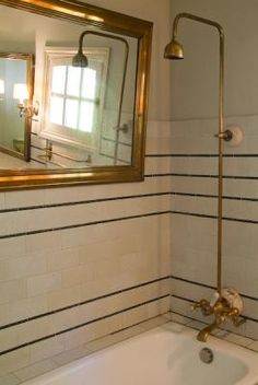 tile w/ liner detail, brass fittings and mirror