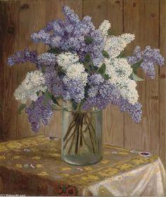 Lilas violet et blanc dans un vase en verre de Nikolay Bogdanov Belsky (1868-1945, Russia)
