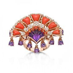 18k peacock collection ring with momo coral, amethyst, mandarin garnet, amethyst by E&V Jewellery