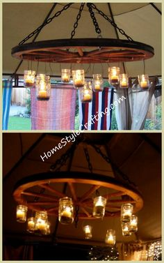 Rustic wagon wheel chandelier.