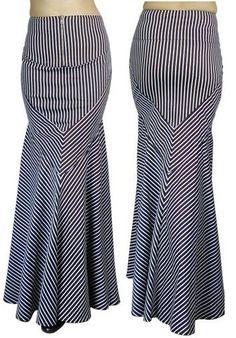 Retroscope Fashions Women's Clearance Black & White Stripe Mermaid Skirt - $39.99