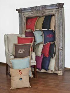 Monogram jute pillows at http://plumfancy.com