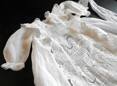 Vintage French Handmade Christening Gown with Lots of Hand Embroidery. $225.00, via Etsy.