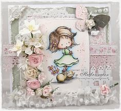 Card by LLC DT Member Becky Hetherington, using papers from Maja Design's Sofiero collection. Image from Tiddlyinks. Challenge 24, Tiddly Inks, Kids Birthday Cards, Love Craft, Summer Garden, Cute Cards, Christmas Cards, Card Making, Paper Crafts
