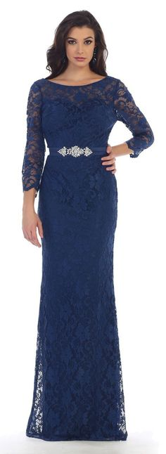 Long Formal Mother of the Bride Dress Plus Size Groom-The Dress Outlet
