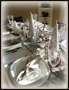Winter Silver Tablescape by dining delight, via Flickr