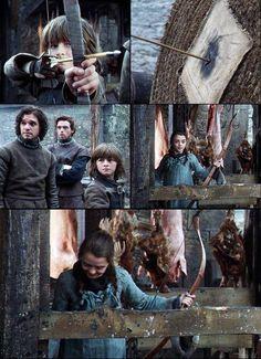 Isaac Hempstead Wright as Bran Stark, Kit Harington as Jon Snow, Richard Madden as Robb Stark and Maisie Williams as Arya Stark (season 1)