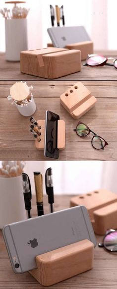 Portable Wood Desktop Cell Phone Holder Pen Pencil Stand