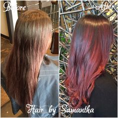 Grown out sombré to a delicious cherry cola creation! #winnipeghair #winnipegstylist #aveda #hair2dye4 Instagram @hair_by_Samantha Twitter @hairz_by_Sam Email samantha@hair2dye4.ca
